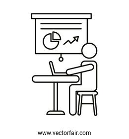 user avatar working in laptop with statistics line style icon