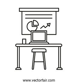 work place coworking with statistics and laptop linear style icon