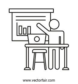 user avatar working in laptop with statistics bars line style icon