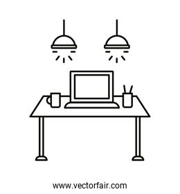 work place coworking with laptop in table linear style icon