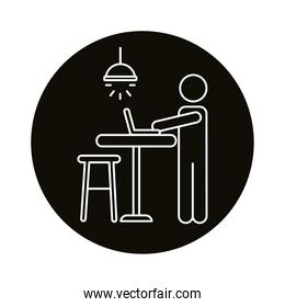 user avatar working in laptop line style icon