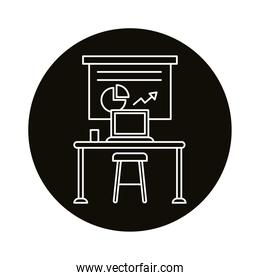 work place coworking with statistics and laptop silhouette  style icon