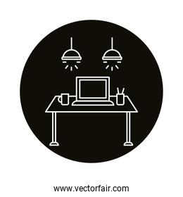 work place coworking with laptop in table  with black circle