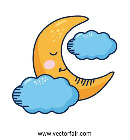 crescent moon and clouds kawaii weather comic character