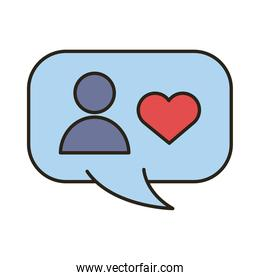 profile avatar with heart in speech bubble line and fill style icon