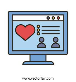 desktop with heart love line and fill style icon