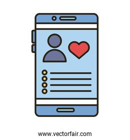 profile avatar with heart in smartphone line and fill style icon
