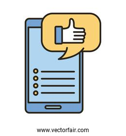 hand like in speech bubble and smartphone social media marketing line and fill style