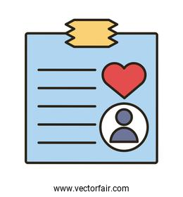 profile avatar with heart in paper line and fill style icon