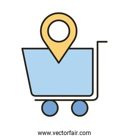 shopping cart with pin location line and fill style icon