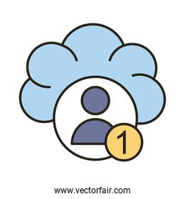profile avatar with number one in cloud computing line and fill style icon