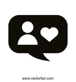 profile avatar with heart in speech bubble block style icon
