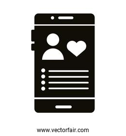 profile avatar with heart in smartphone block style icon