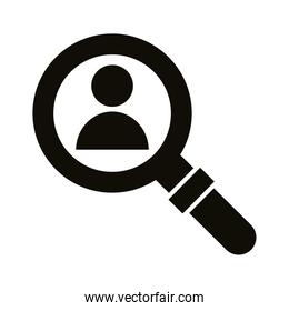 profile avatar in magnifying glass block style icon