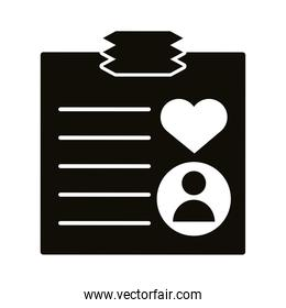 profile avatar with heart in paper block style icon