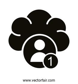 profile avatar with number one in cloud computing block style icon