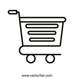shopping cart trolley with horizontal lines supermarket line style