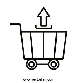 shopping cart trolley with arrow up line style icon