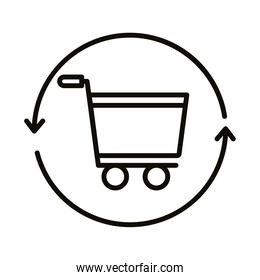 shopping cart trolley with arrows around line style icon