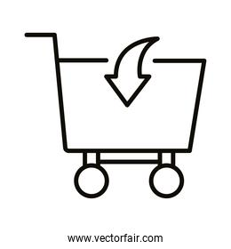 shopping cart trolley with arrow in line style icon