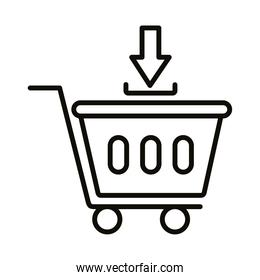 shopping cart trolley with arrow ad linear  style icon