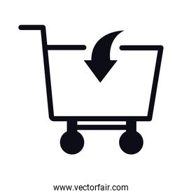 shopping cart trolley with arrow in linear  style icon
