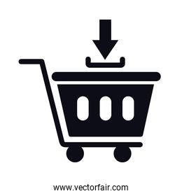 shopping cart trolley with arrow ad silhouette style icon