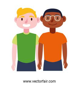 young interracial men avatars characters icon