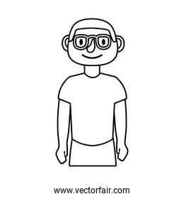young man with eyeglasses avatar character line style icon