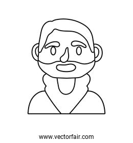 young man with beard avatar line style icon