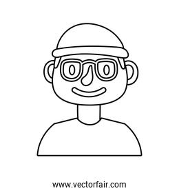 young man with eyeglasses avatar line style icon