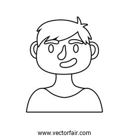 young man avatar character line style icon