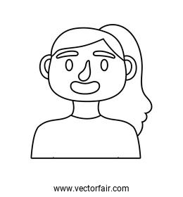 young woman avatar character line style