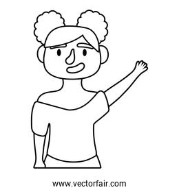 young woman avatar character line style icon