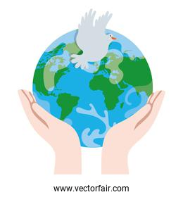 hands lifting earth planet and dove bird flying