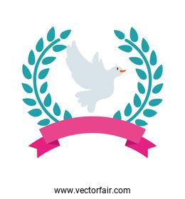 dove bird flying in wreath crown