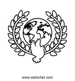 dove bird flying with planet earth in wreath crown line style icon
