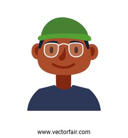 young afro man with eyeglasses avatar character