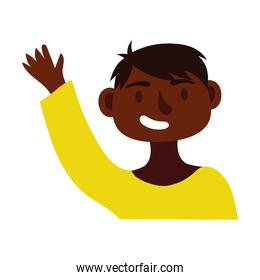 young afro man avatar character icon