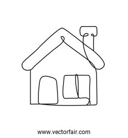 house facade one line style icon