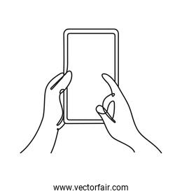 hands using smartphone one line style icon