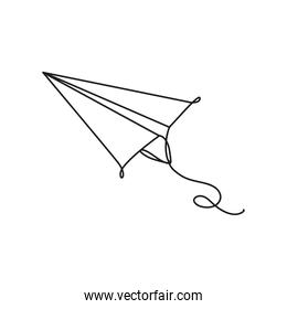 paper airplane toy one line style icon
