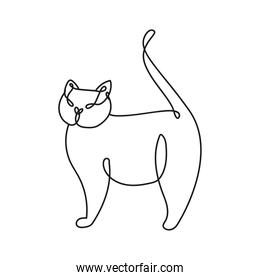 cute cat mascot one line style icon