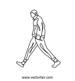 man walking one line style icon