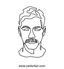 head man with mustache one line style icon