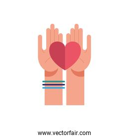 hands with heart of love feeling icon