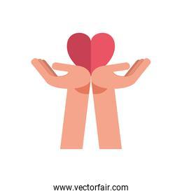 hands lifting heart of love feeling icon