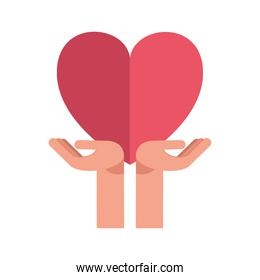 hands protecting heart of love feeling icon