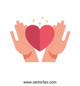 hands with heart of love feeling and stars