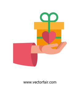hand lifting heart of love feeling in gift present